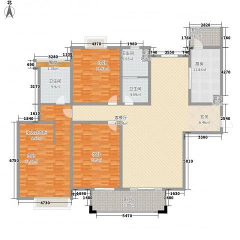 泉景花园3室1厅3卫1厨260.00㎡户型图