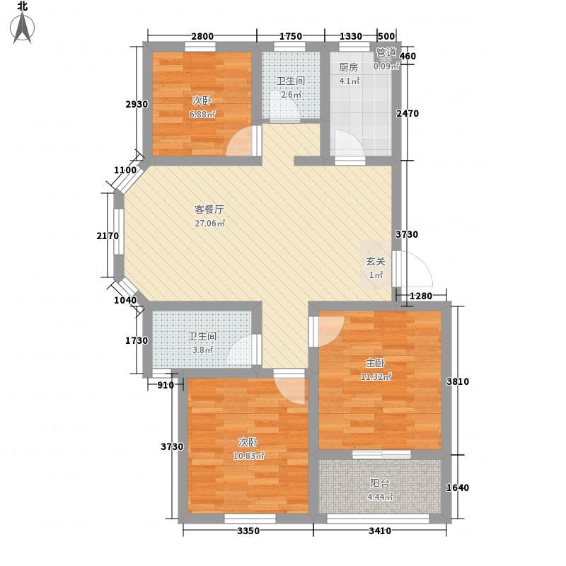 水畔御景17.37㎡一期多层标准层E户型3室2厅2卫1厨