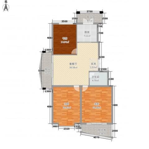 新天地家园3室1厅1卫1厨147.00㎡户型图