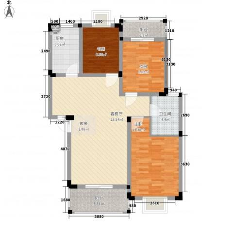 唐明园3室1厅1卫1厨110.00㎡户型图
