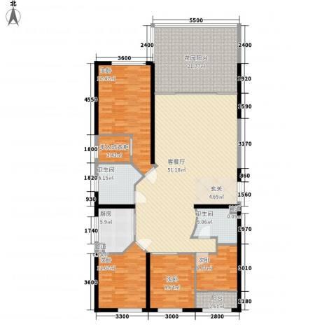 华鸿花园4室1厅2卫1厨141.29㎡户型图