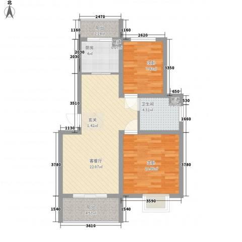 常工尚城国际2室1厅1卫1厨84.00㎡户型图