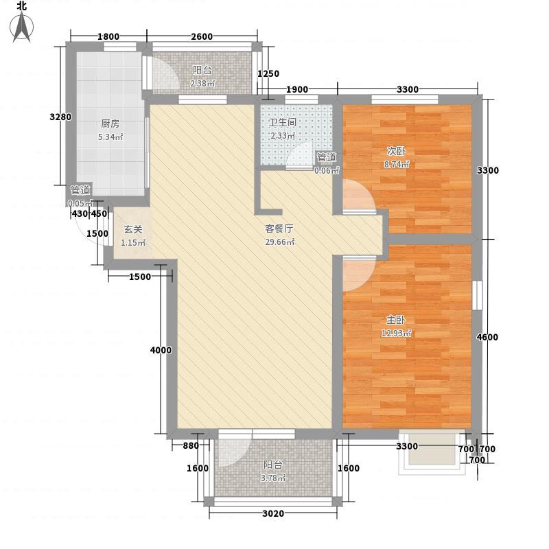 天房彩郡二期5.60㎡新尚园15号楼标准层C户型2室2厅1卫1厨