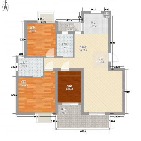 香江大花园3室1厅2卫0厨136.00㎡户型图