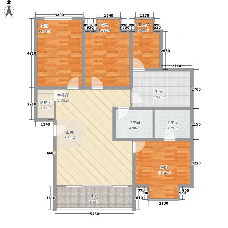 奇峰小筑132.70㎡H户型4室2厅2卫1厨