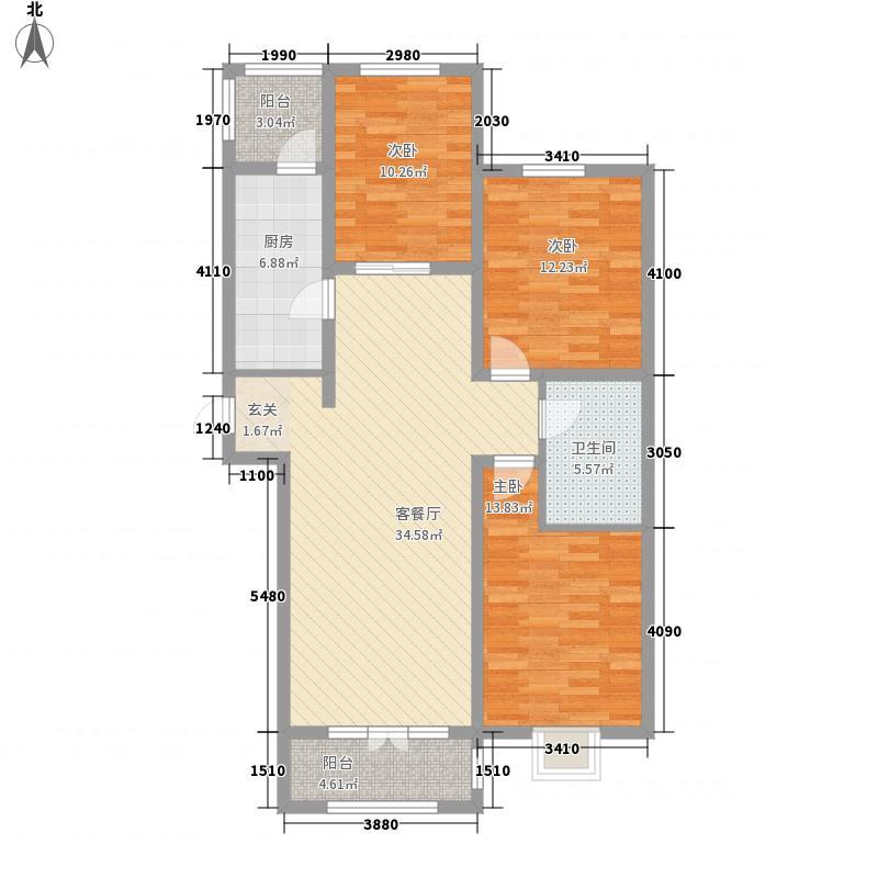 首创・国际学园3室1厅1卫1厨122.00㎡户型图