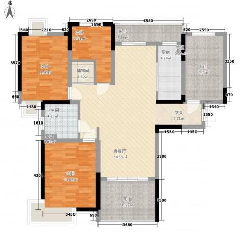 时代豪庭3室1厅1卫1厨128.00㎡户型图