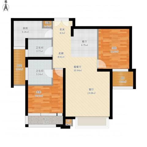 亿城堂庭2室1厅2卫1厨119.00㎡户型图