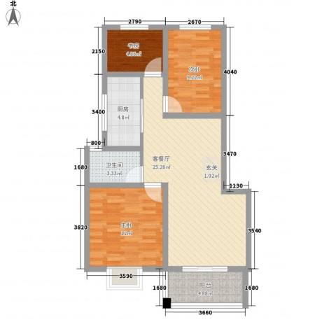 东城水岸3室1厅1卫1厨93.00㎡户型图