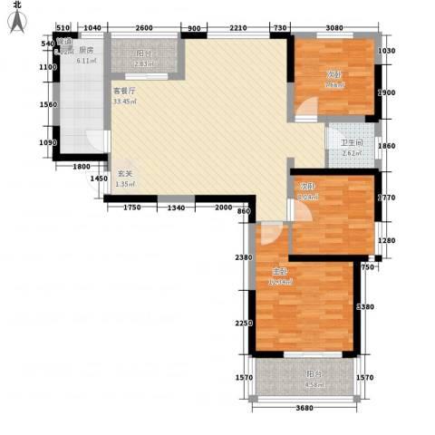 中铁万和城3室1厅1卫1厨102.00㎡户型图
