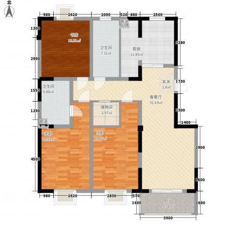 唐明园3室1厅2卫1厨110.50㎡户型图