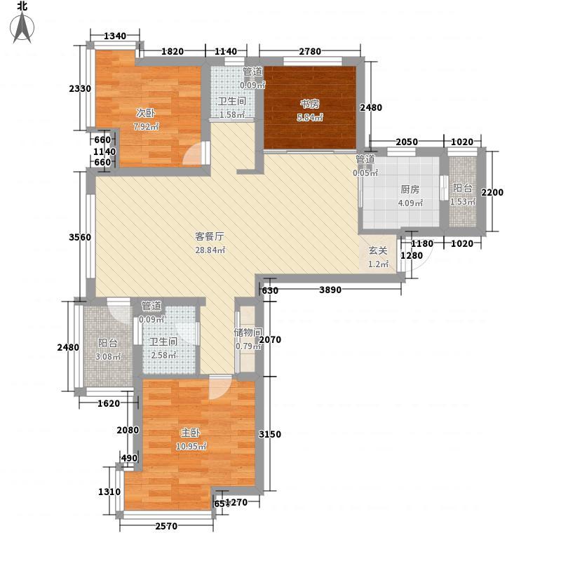 春江美庐3室1厅2卫1厨99.00㎡户型图