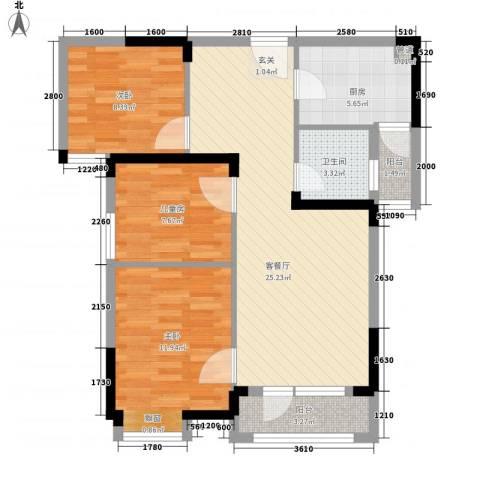 王家湾中央生活区3室1厅1卫1厨67.07㎡户型图