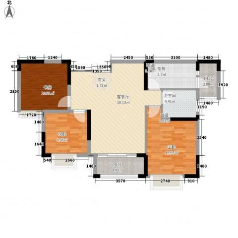 发能太阳海岸3室1厅1卫1厨110.00㎡户型图