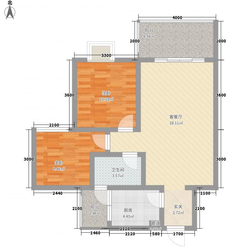 学府苑2室1厅1卫1厨64.34㎡户型图