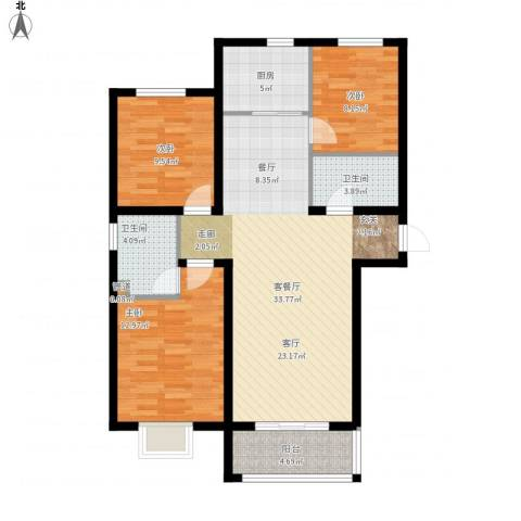 同美中央生活区3室1厅2卫1厨117.00㎡户型图