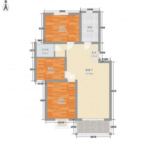 锦绣中华3室1厅1卫1厨73.17㎡户型图