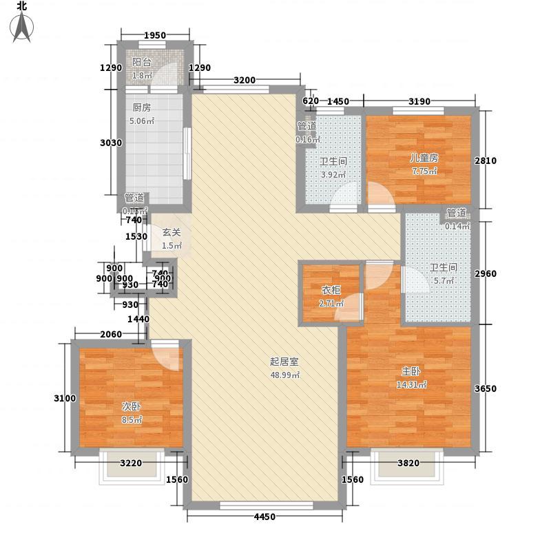 华业玫瑰东方Ⅱ期13.78㎡8号楼D-2户型3室2厅2卫1厨