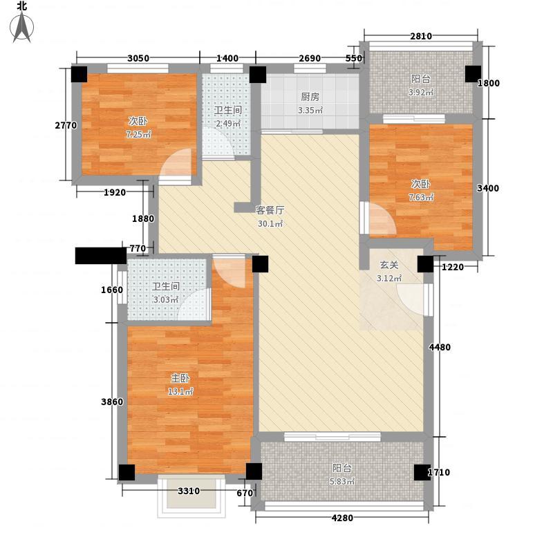 宏都・尚城112.00㎡5#楼K1户型3室2厅2卫