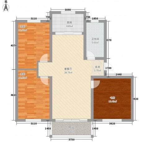 万博宇辉家园3室1厅1卫1厨112.00㎡户型图