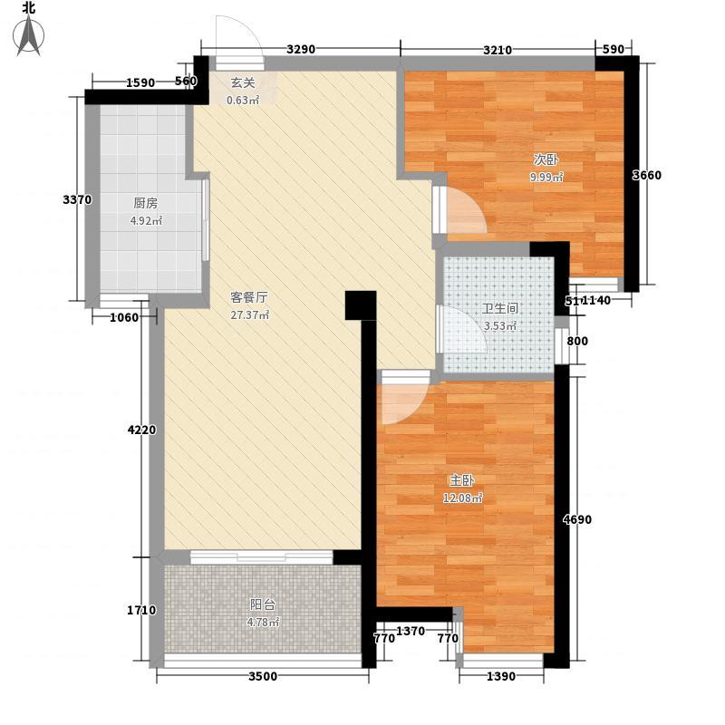 壹号公馆90.00㎡壹号公馆户型图G4号楼K户型2室2厅1卫1厨户型2室2厅1卫1厨