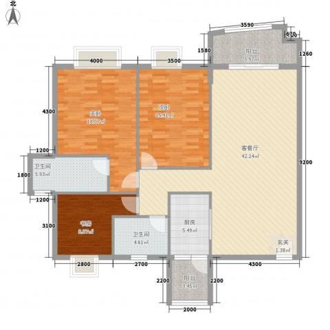 骏马山庄别墅3室1厅2卫1厨153.00㎡户型图