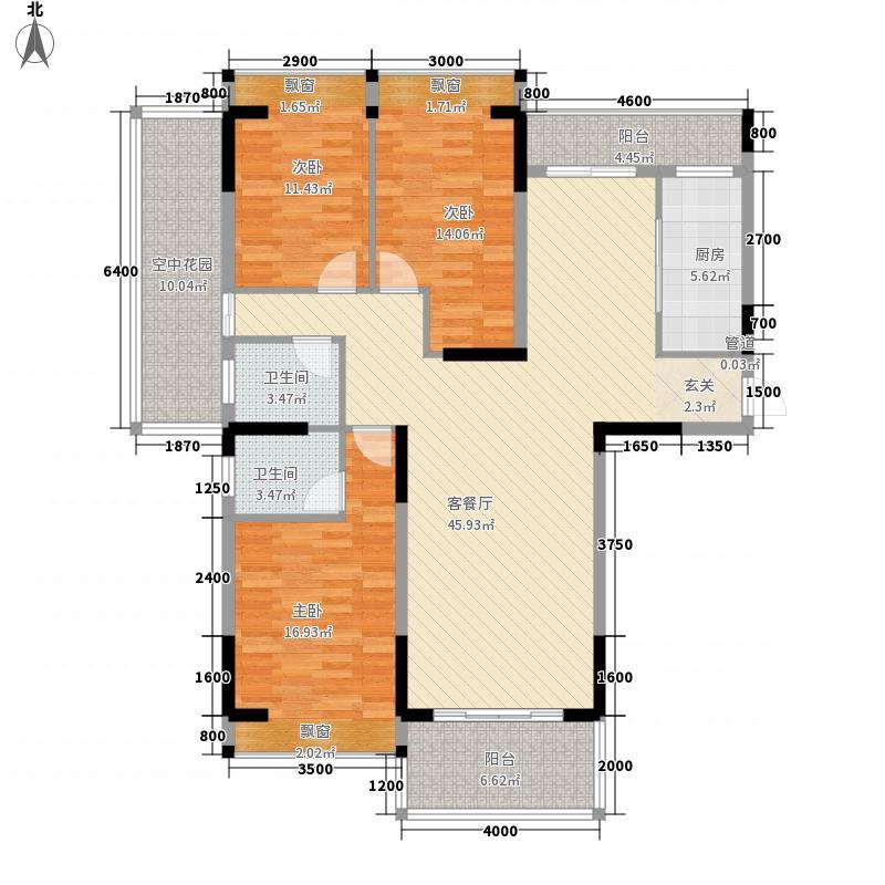 台山・骏景园13.27㎡一期骏逸轩c座标准层01户型3室2厅2卫1厨