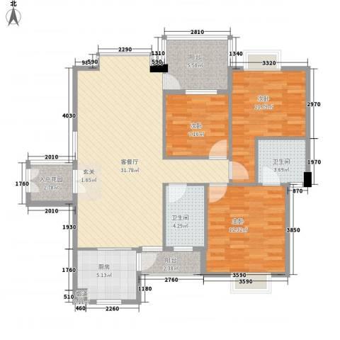 德丰花园3室1厅2卫1厨120.00㎡户型图