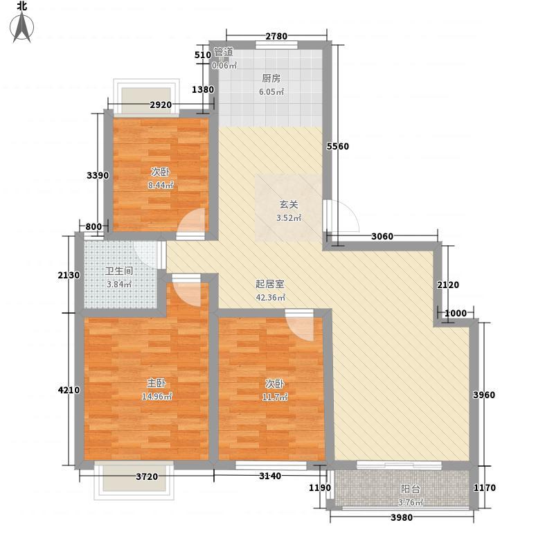 名城嘉苑3室0厅1卫0厨122.00㎡户型图