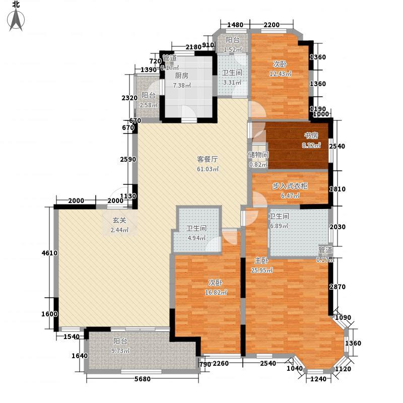 仁恒怡庭公寓197.00㎡B1户型4室2厅3卫1厨