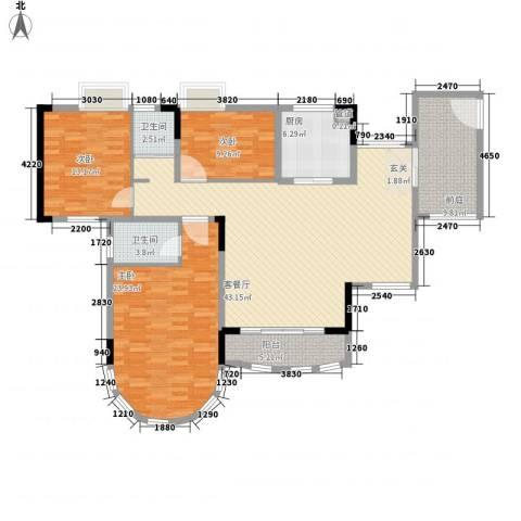 茗雅荟3室1厅2卫1厨132.44㎡户型图
