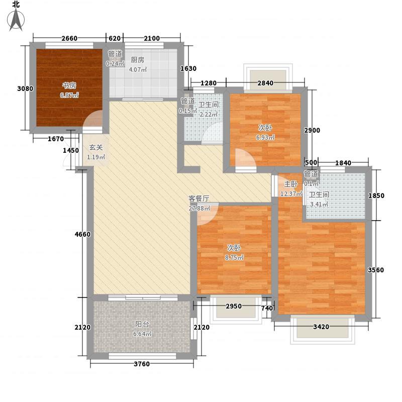 如皋中南世纪城4室1厅2卫1厨116.00㎡户型图