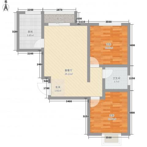 梅岭西苑2室1厅1卫1厨90.00㎡户型图