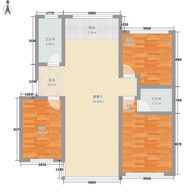 东海花苑12.00㎡F户型3室2厅2卫1厨