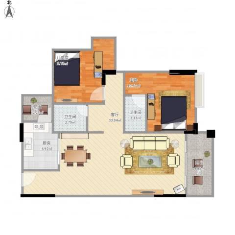 中能香榭丽2室1厅2卫1厨97.00㎡户型图