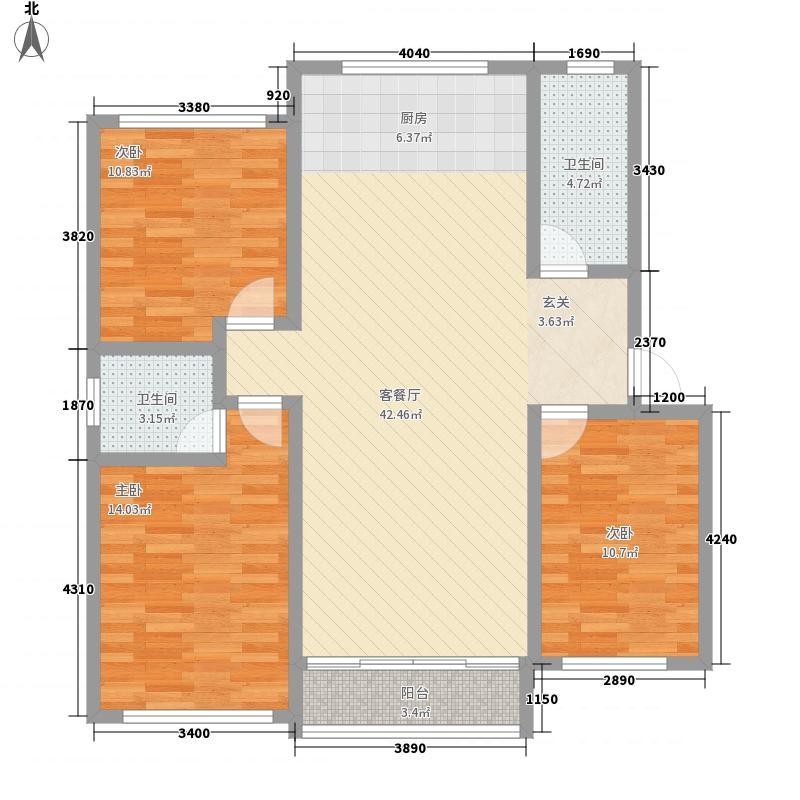 东海花苑3室1厅2卫0厨89.30㎡户型图