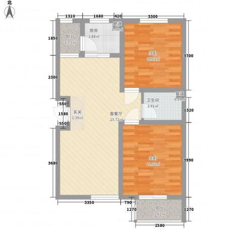 西堤公寓2室1厅1卫1厨82.00㎡户型图