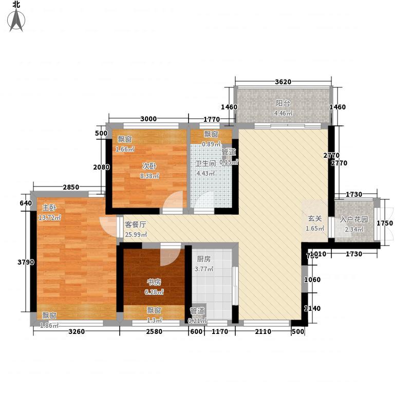 K2・荔枝湾81.00㎡5/6/7/9/10栋南向A户型3室2厅1卫1厨