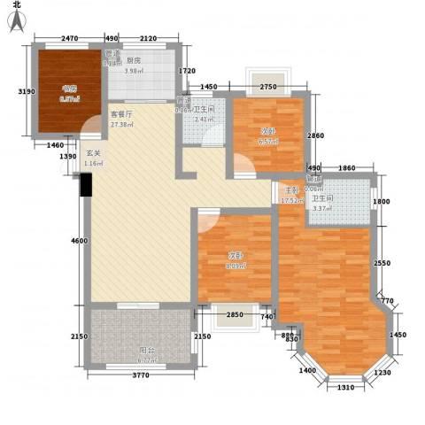 如皋中南世纪城4室1厅2卫1厨121.00㎡户型图