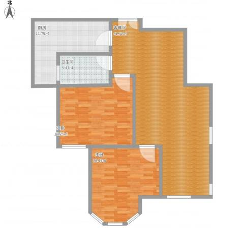 国金华府2室1厅1卫1厨128.00㎡户型图