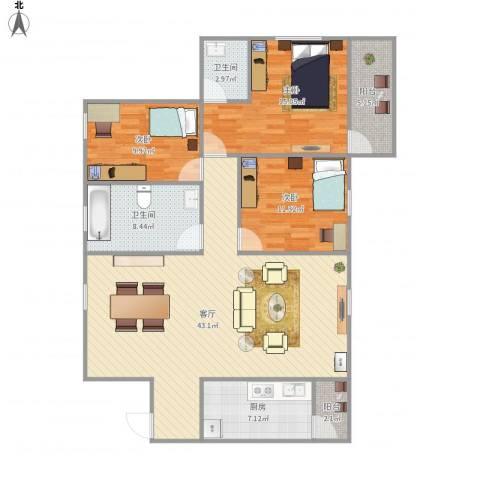 海怡东方花园3室1厅2卫1厨141.00㎡户型图