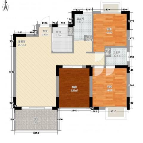 天成广场3室1厅2卫1厨98.00㎡户型图