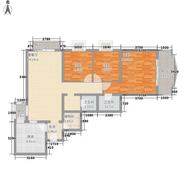 富仁名苑138.23㎡A2户型3室2厅2卫1厨