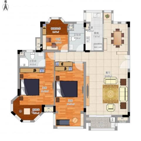 中兴和园3室1厅2卫1厨163.00㎡户型图