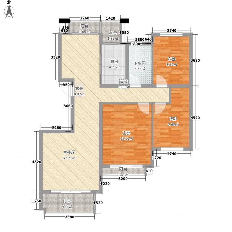 谢丽花园128.00㎡3室户型3室2厅2卫1厨