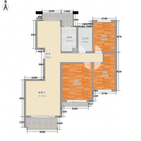 谢丽花园3室1厅1卫1厨128.00㎡户型图