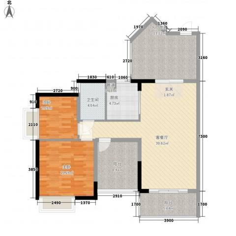 招商金山谷2室1厅1卫1厨92.00㎡户型图