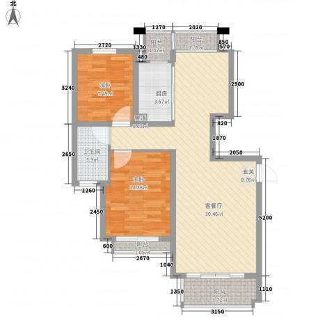 谢丽花园2室1厅1卫1厨91.00㎡户型图