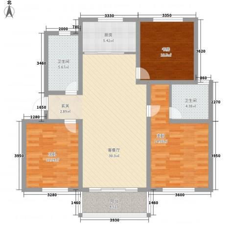 万博宇辉家园3室1厅2卫1厨125.00㎡户型图