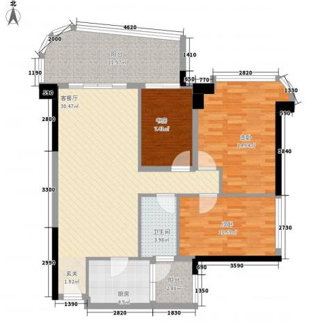 锦绣香江紫荆雅园3室1厅1卫1厨96.00㎡户型图